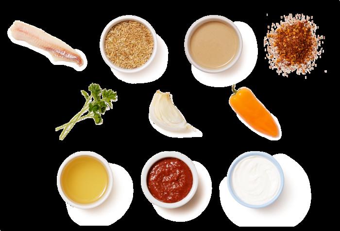 Spiced Wild Alaskan Pollock over Freekeh & Harissa-Tahini Yogurt