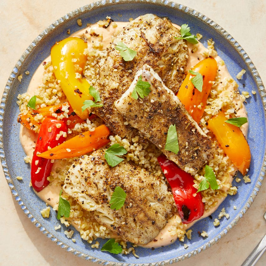 Spiced Wild Alaskan Pollock over Freekeh & Harissa-Tahini Yogurt