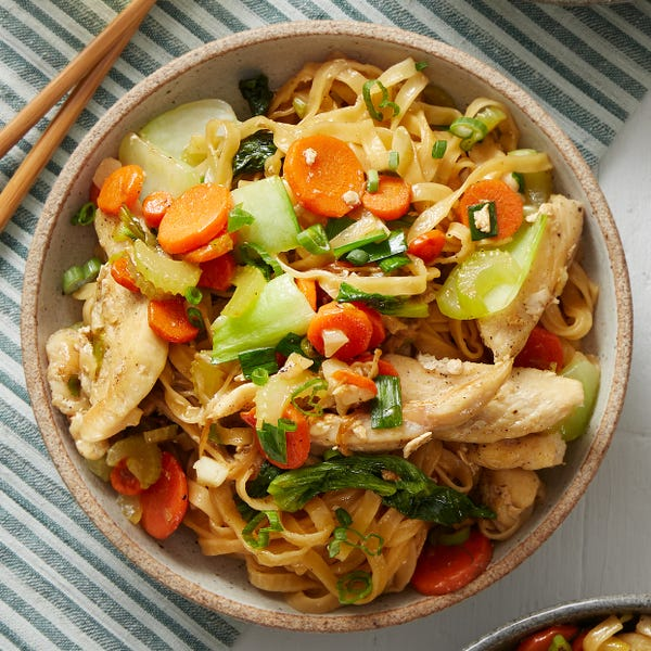 Chicken Lo Mein with Enoki Mushrooms & Bok Choy