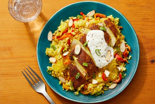 Spiced Chicken & Saffron Rice with Almonds & Lemon Yogurt