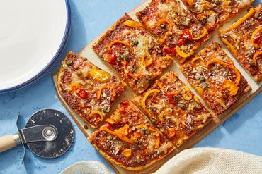Sweet Pepper Focaccia Pizza with Spicy Garlic Oil