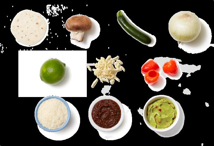 Spicy Mushroom & Onion Quesadillas with Guacamole