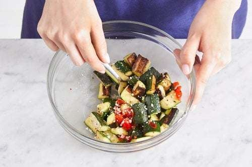 Finish the zucchini & serve your dish: