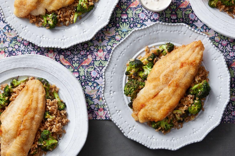 Crispy Catfish & Creamy Lemon-Caper Sauce with Broccoli & Farro Salad