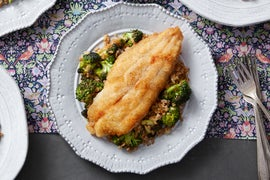 Crispy Catfish & Creamy Lemon-Caper Sauce with Broccoli & Farro Salad