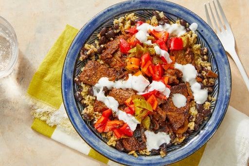 Beef Burrito Bowls with Black Beans, Freekeh & Pepper Salsa