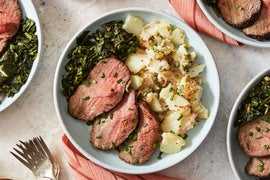 Spice-Rubbed Roast Beef with Collard Greens & Potato Salad