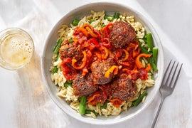 Harissa Meatballs & Tomato Sauce with Green Beans & Orzo