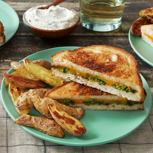 Broccoli-Cheddar Grilled Cheese Sandwiches with Fingerling Potatoes & Ranch Sauce