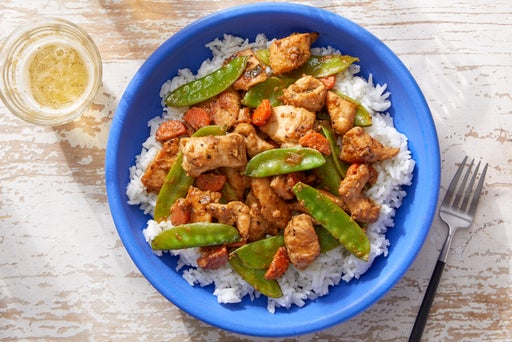 Sesame Chicken Stir-Fry with Vegetables & Coconut Rice