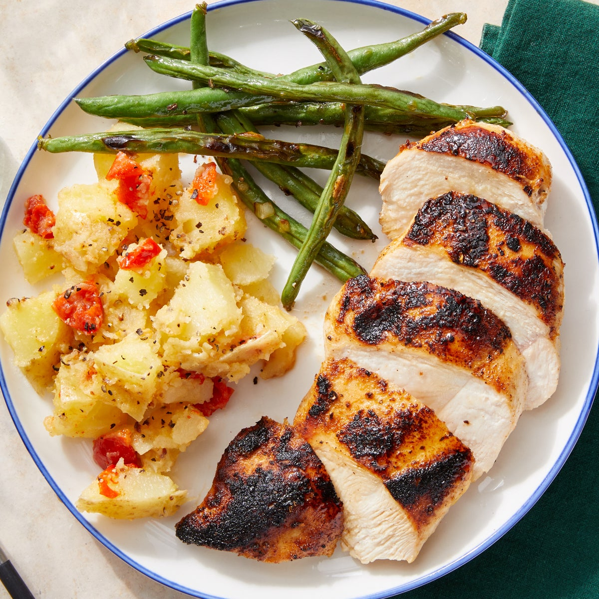 Seared Chicken & Potato Salad with Maple-Glazed Green Beans