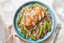 Seared Pork Chops & Chipotle Mayo with Red Rice, Snap Peas & Hot Honey