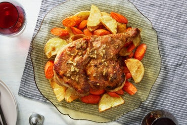 Brick-Style Chicken with Roasted Vegetables & Italian Dressing