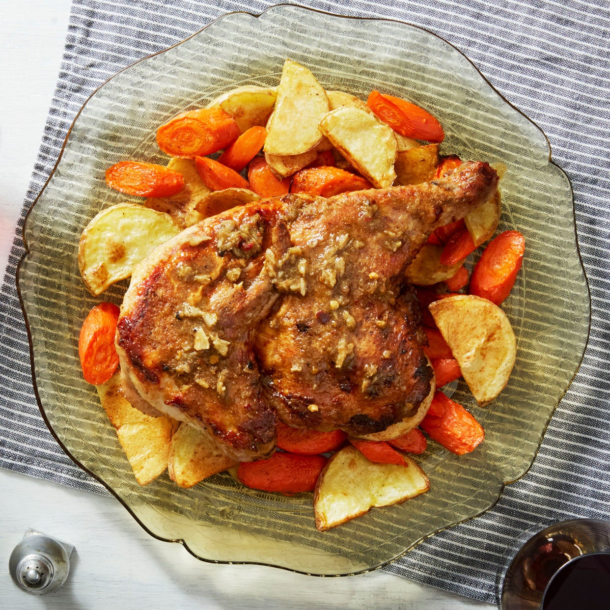 "Chicken Under a ""Brick"" with Roasted Vegetables & Italian Dressing"