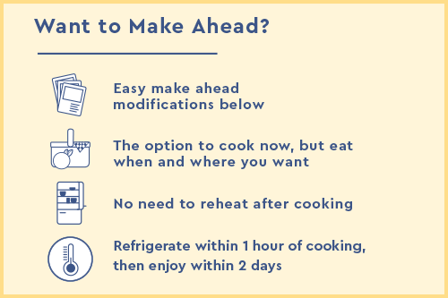 Make ahead modifications: