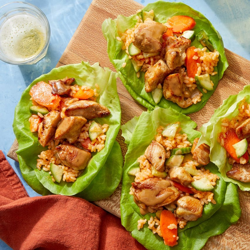 Chicken Lettuce Cups with Hoisin Mayo & Spicy Pickled Carrots