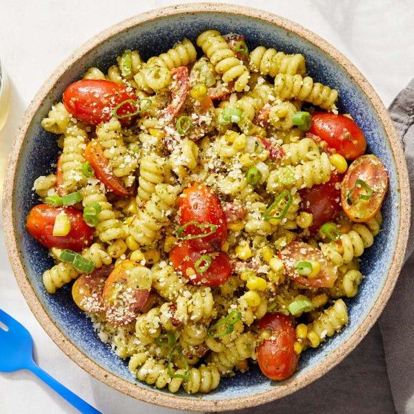 Pesto Fusilli Pasta with Fresh Tomatoes & Corn
