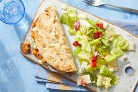 Smoky Chickpea Gyros with Feta & Romaine Salad