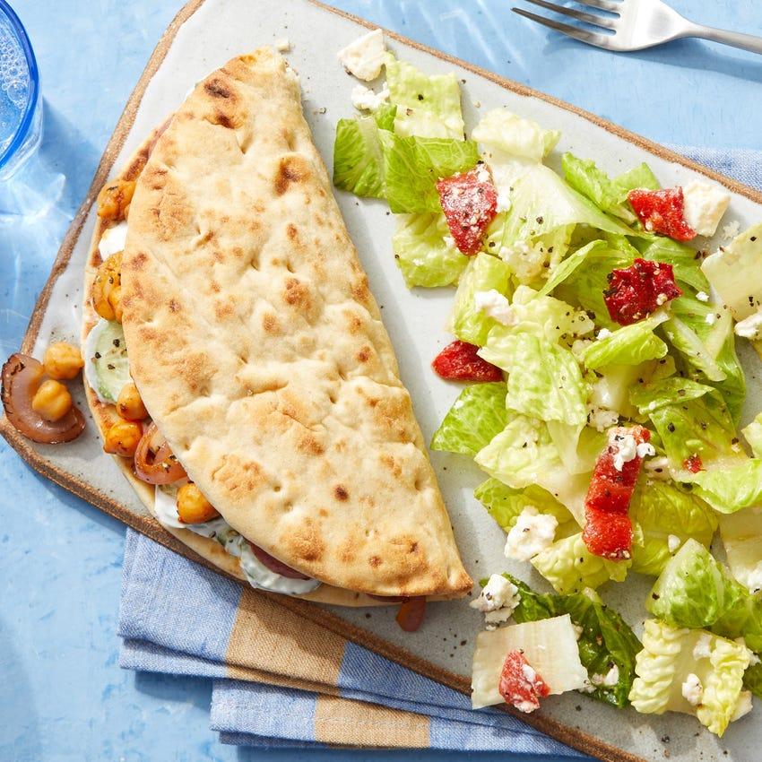 Smoky Chickpea Gyros with Feta & Romaine Salad