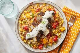 Mexican-Spiced Chicken & Lime Sour Cream with Esquites-Style Farro Salad