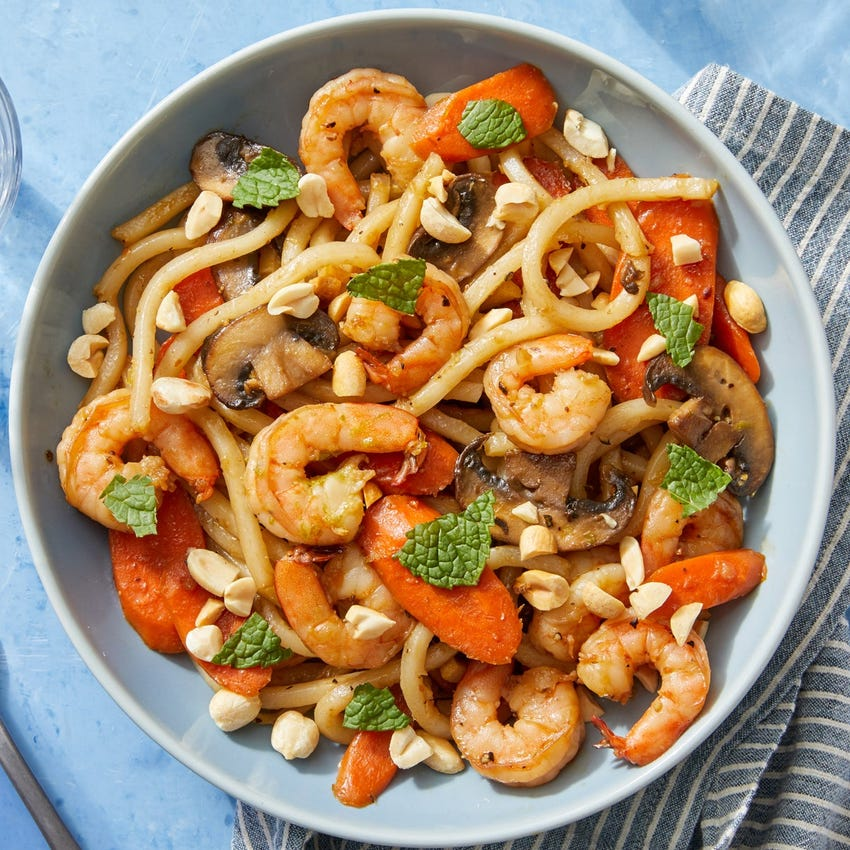 One-Pot Shrimp & Udon Noodles with Peanuts & Mint
