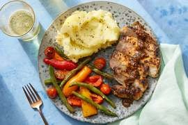 Pork Chops & Buttermilk Mashed Potatoes with Honey-Mustard Pan Sauce & Green Beans