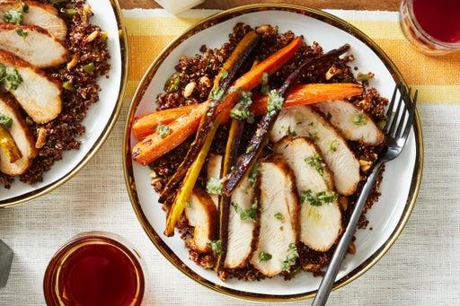 Peruvian Turkey & Quinoa with Roasted Carrots & Chimichurri Sauce