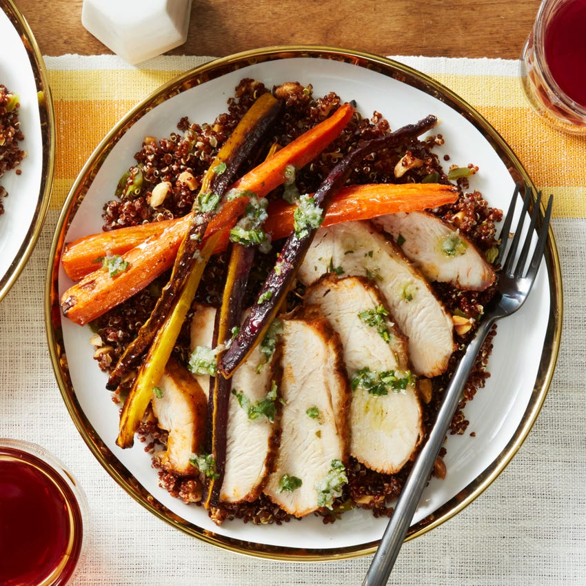 Peruvian Turkey & Quinoa with Roasted Carrots & Chimichurri Sauce