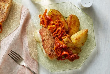 Fontina-Stuffed Pork Chops with Potatoes & Pizzaiola Sauce