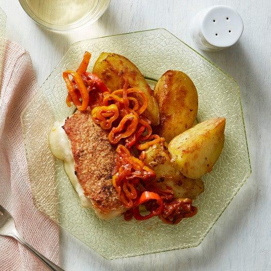 Fontina-Stuffed Pork Chops with Potatoes & Pizzaiola Sauce