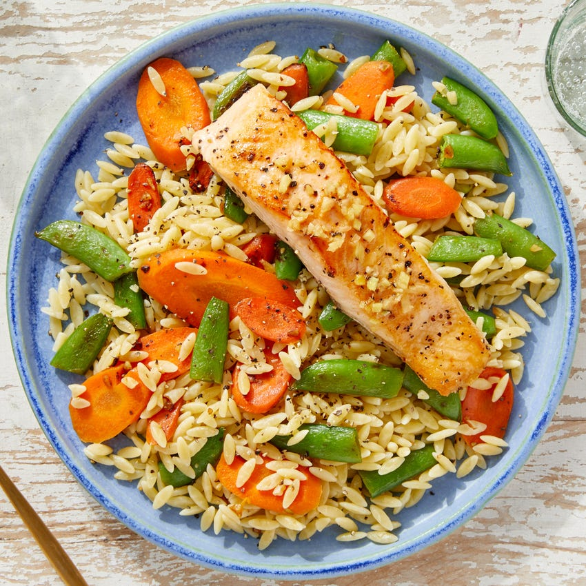 Lemon-Ginger Salmon with Orzo, Carrots &  Sugar Snap Peas