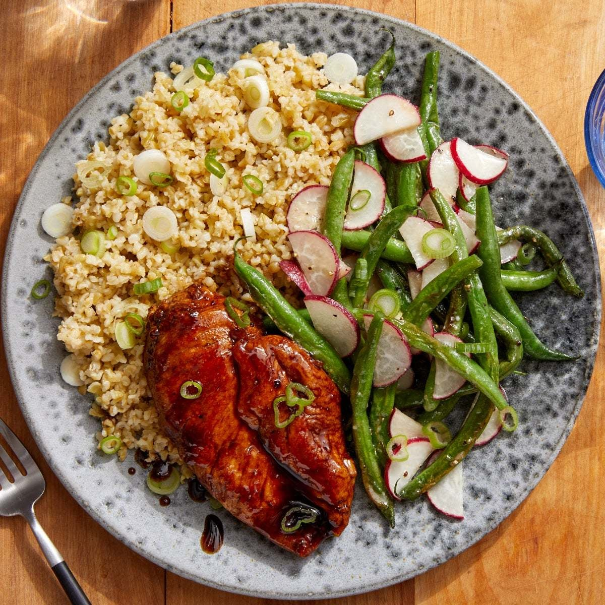 Soy-Glazed Chicken & Freekeh with Miso-Honey Green Beans & Radishes