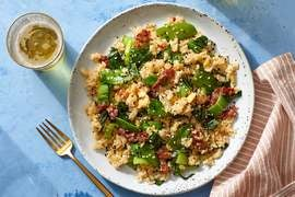 Prosciutto Fried Rice with Sesame Snow Peas & Bok Choy