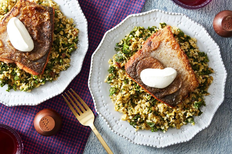 Seared Salmon & Lemon Labneh with Freekeh, Kale & Dates