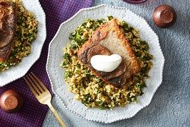 Seared Salmon & Lemon Labneh with Freekeh, Kale & Dates