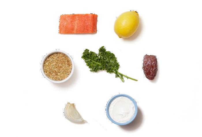 Seared Salmon & Lemon Labneh with Freekeh, Kale & Dates ingredients