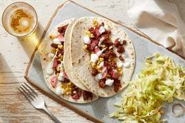 Spicy Beef Tacos with Corn, Radishes & Sour Cream