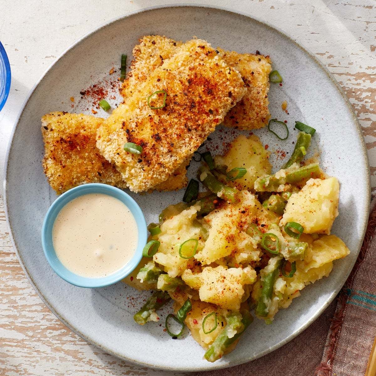 Crispy Fish Katsu with Creamy Potato Salad & Ponzu Mayo