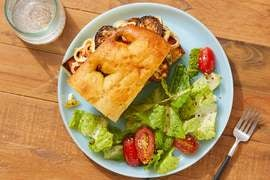 Greek-Style Vegetable Sandwiches with Romaine & Marinated Tomato Salad