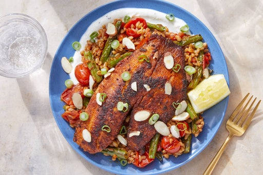 Spanish-Spiced Tilapia with Vegetable Farro & Lemon-Garlic Yogurt