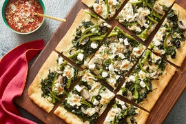 Spinach & Fresh Mozzarella Pizza with Olives, Bell Pepper & Ricotta Salata