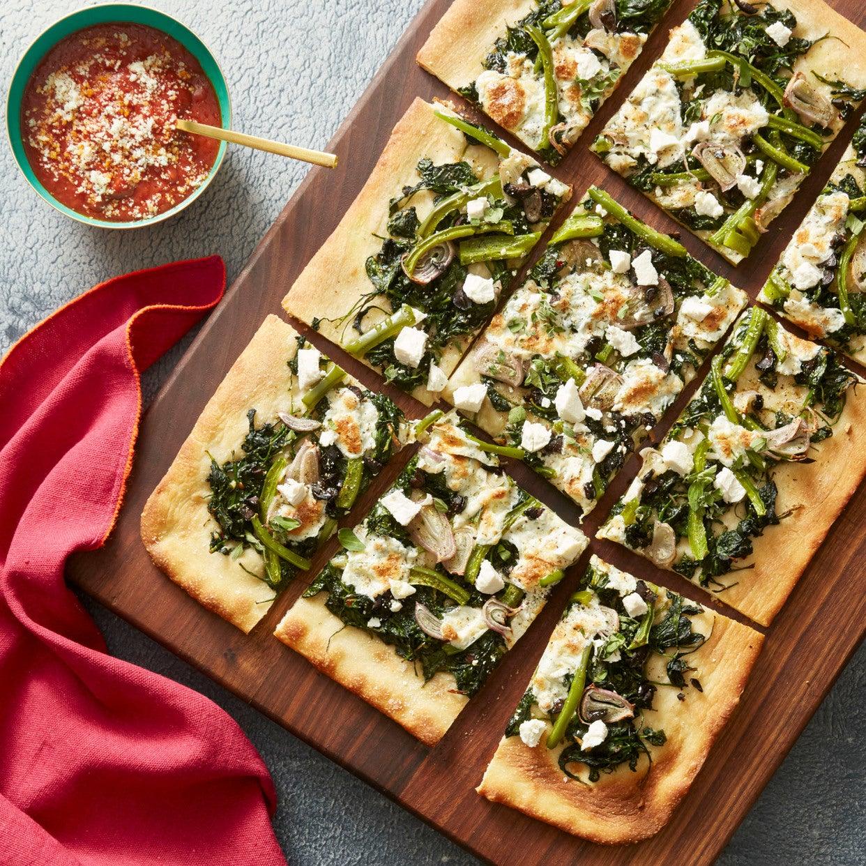 Spinach & Fresh Mozzarella Pizza with Olives, Bell Pepper & Ricotta Salata