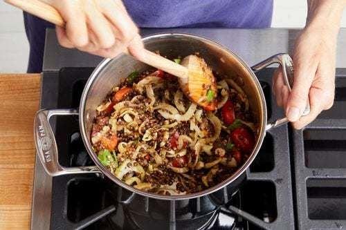 Finish the lentils & serve your dish: