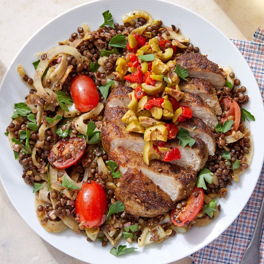 Tuscan-Spiced Pork Chops with Lentils, Fennel & Marinated Tomatoes