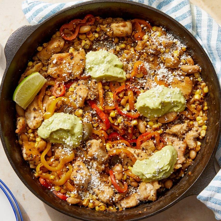 Tomatillo Chicken & Corn Skillet with Guacamole & Cotija Cheese