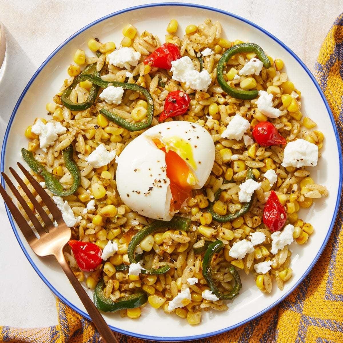 Za'atar Vegetable & Orzo Salad with Soft-Boiled Eggs & Feta