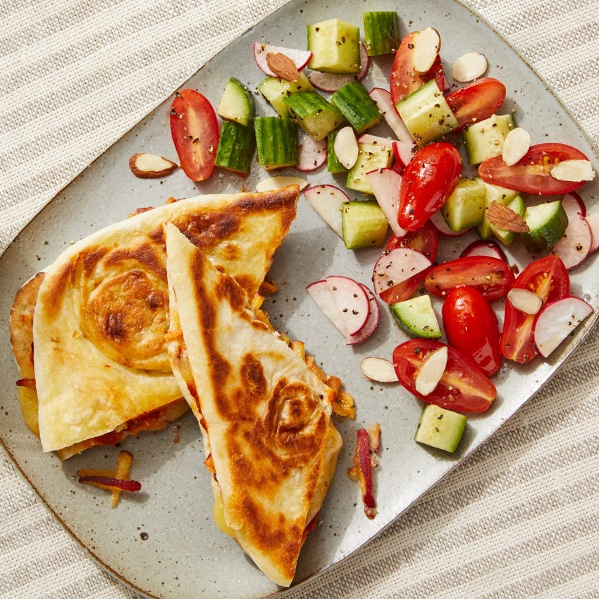 Naan Grilled Cheese Sandwiches with Peach & Tomato Chutney