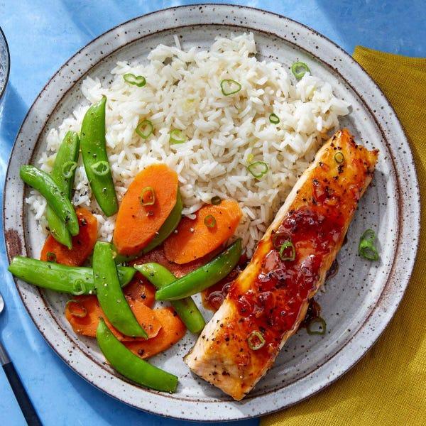 Seared Salmon & Sweet Chili Glaze with Aromatic Rice & Sautéed Vegetables