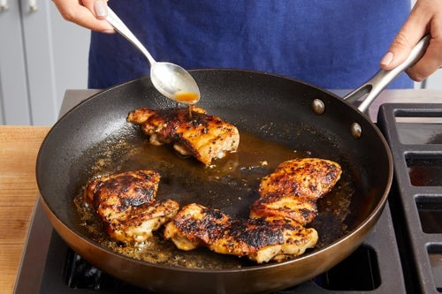 Cook & glaze the chicken: