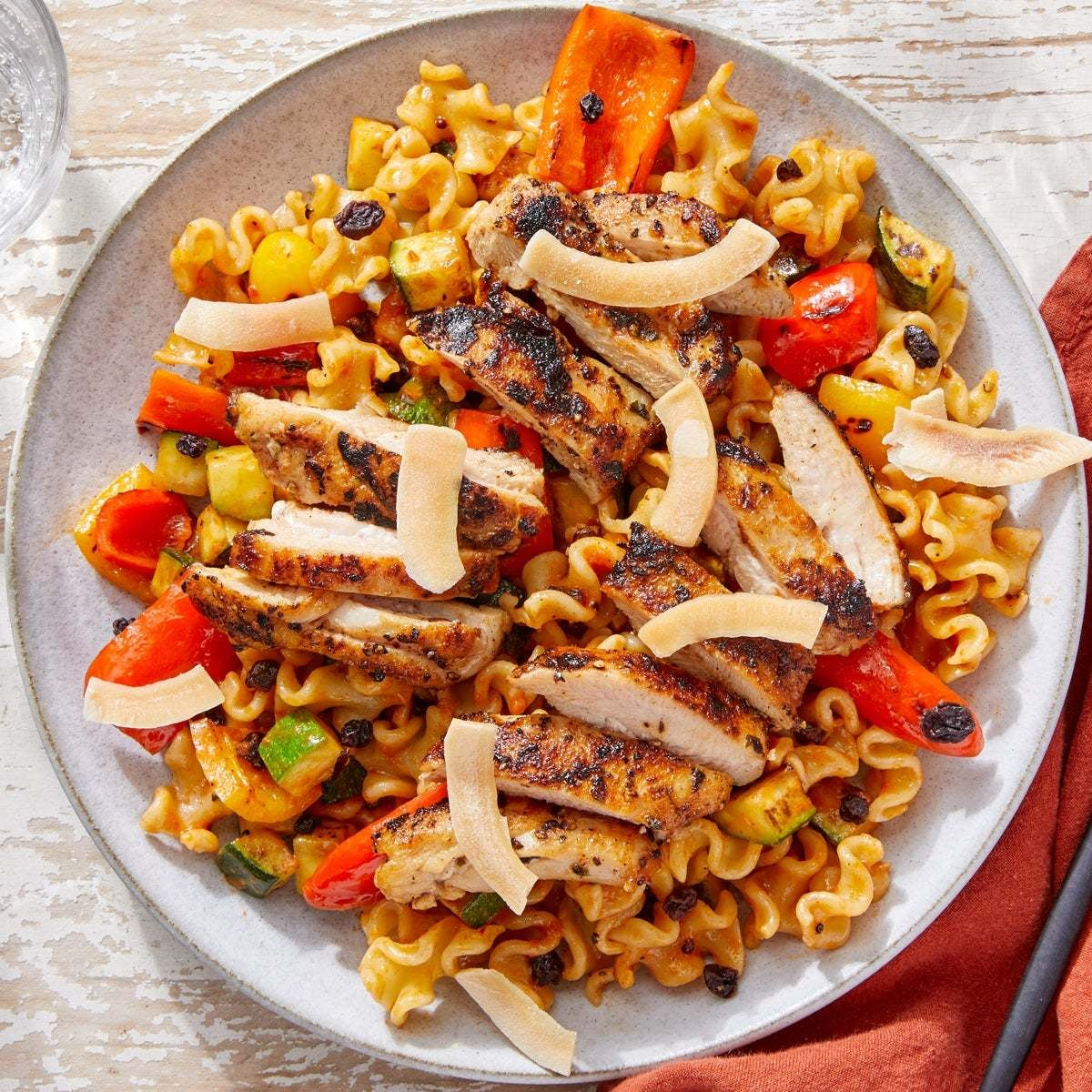 Glazed Chicken with Indian-Style Pasta Salad